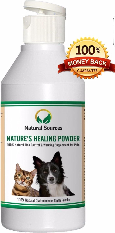 Polvo natural de curación de Natural Sources™, tratamiento de pulgas 100% natural para perros, gatos y casa. Se puede usar cerca de los ninos y otras mascotas y alrededor de la casa - Natural desparas