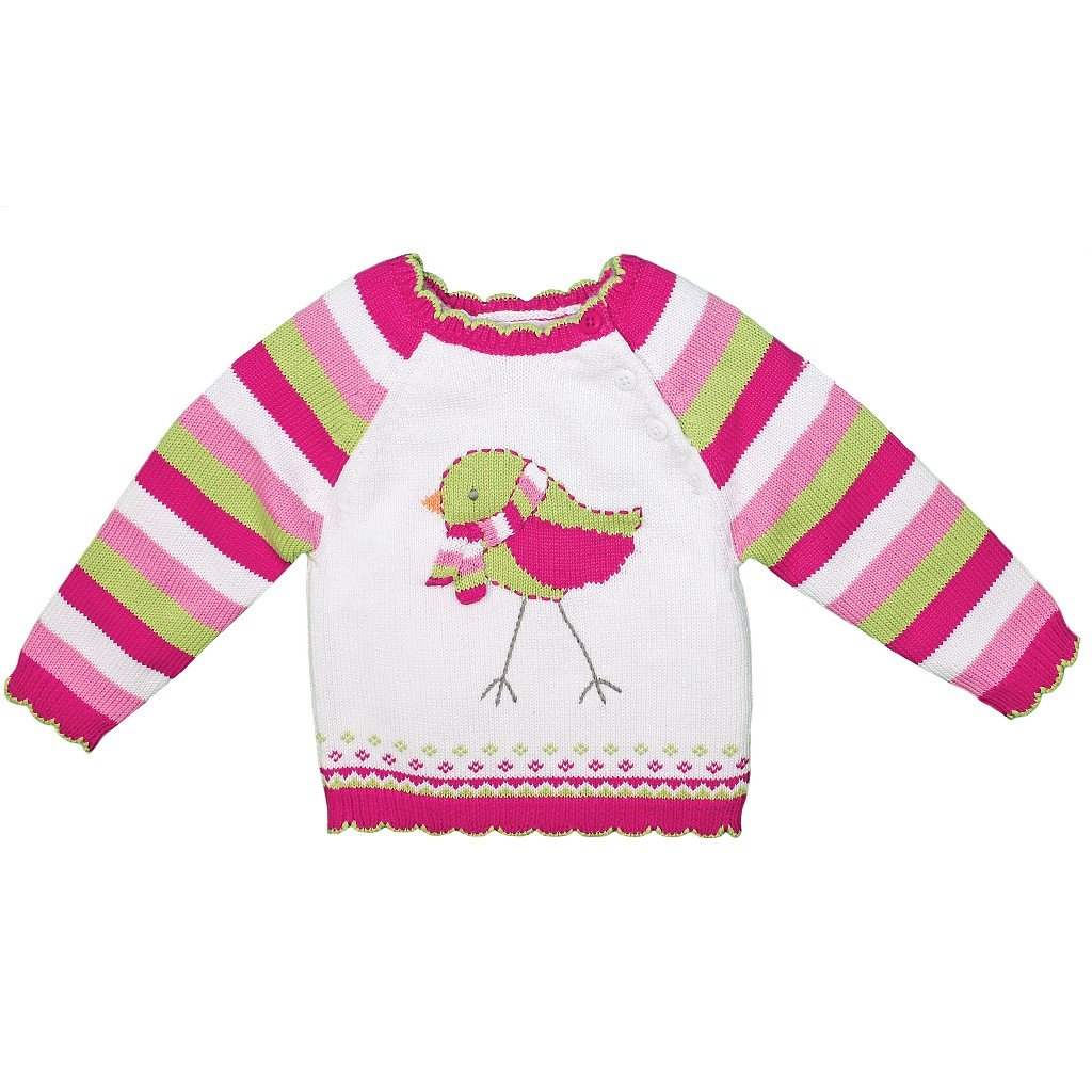 Zubels 100% Hand-Knit Bird with Scarf Sweater All Natural Fibers White by Zubels