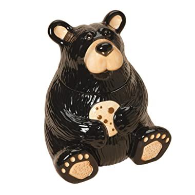 Cute Bear With Cookie Classic Black 12 x 9 Glossy Ceramic Cookie Jar Container