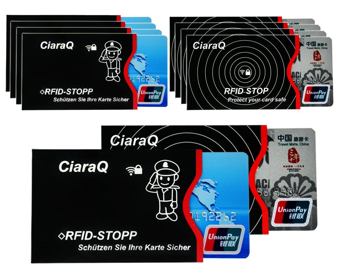 RFID-Schutzhülle, 10 Stück RFID & NFC Blocking Schutzhülle für EC-Karte, Bankkarte, Personalausweis, Kreditkarte - 100% Datenschutz vor NFC Funk-Chips, Kratzern und Betrughl (10pcs) RFID-Schutzhülle CiaraQ