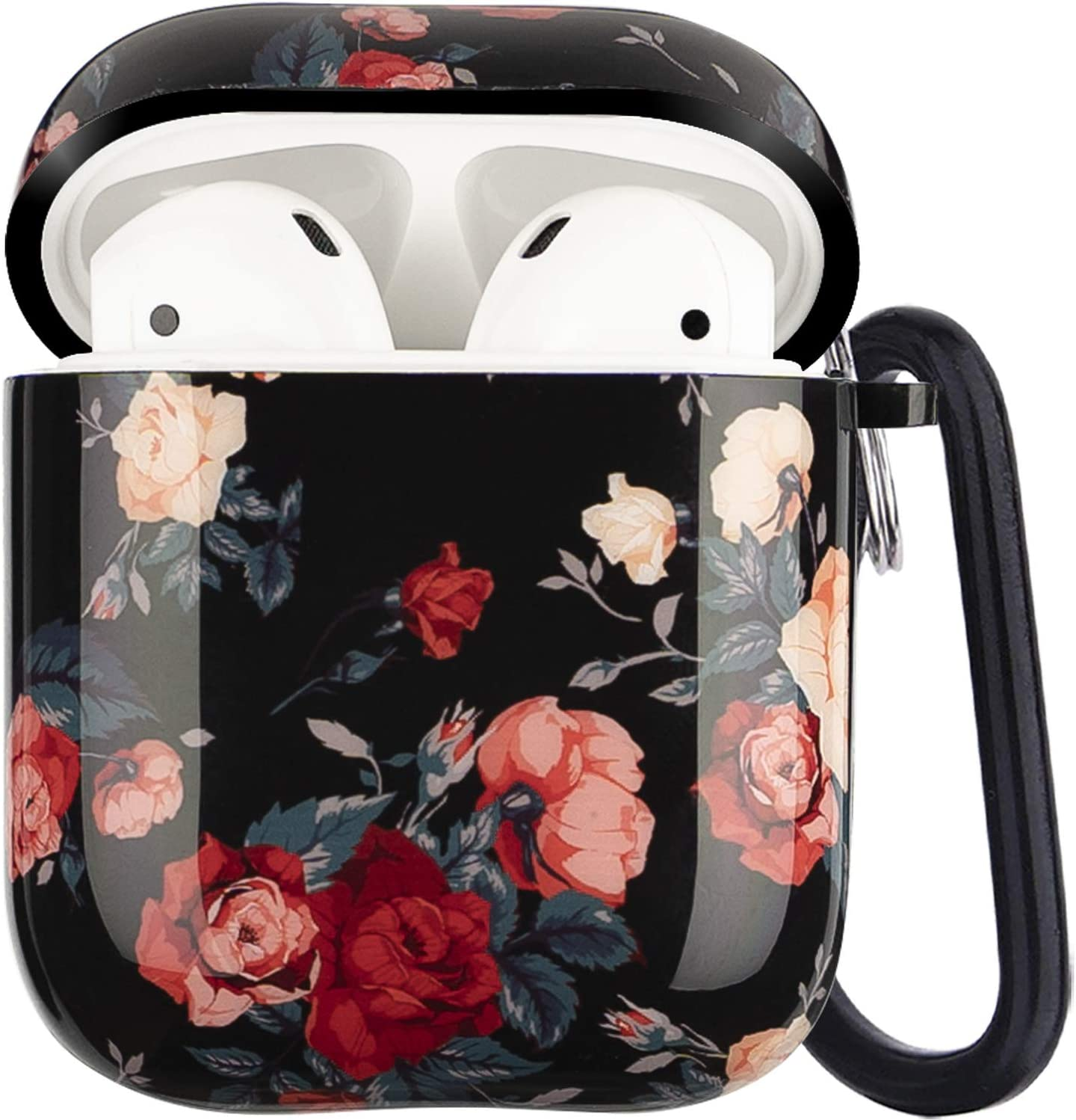 Airpods Case - LitoDream Cute Rose Flower Protective Hard Case Cover Skin Portable & Shockproof Women Girls with Keychain for Apple Airpods 2/1 Charging Case (Rose Flower)