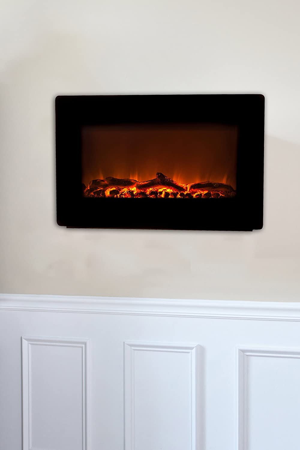 amberglo modern p insert inset fire electric in supersize black fireplace