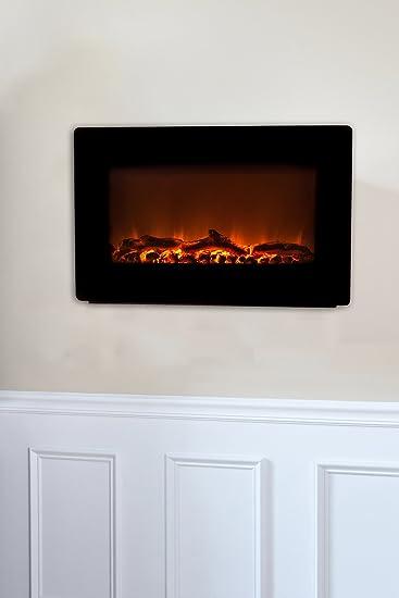 Amazon.com: Fire Sense Black Wall Mounted Electric Fireplace: Home & Kitchen