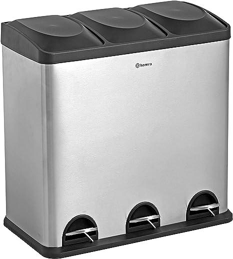 Homra Poubelle Tri Selectif 3 Compartiments 60 Litres 3 X 20 L Poubelle De Recyclage A Pedale Design Poubelle Maxer Amazon Fr Cuisine Maison