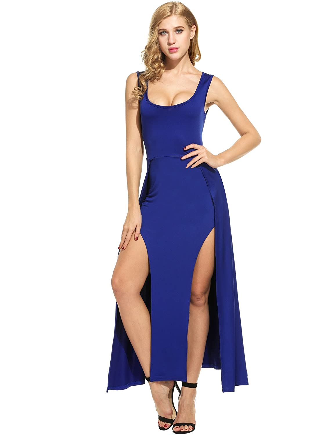 545b2e1ddc9a Meaneor Women s Sexy Sleeveless Long Split Side Club Cocktail Maxi Dress at  Amazon Women s Clothing store