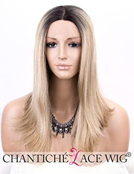 Chantiche Shoulder Length Ombre Blonde Wig Lace Front Natural Straight  Synthetic Hair Wigs for Women Dark 30e3362c13
