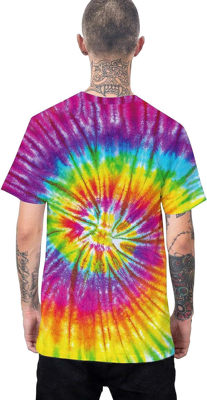 Pizoff Unisex Rainbow Tie Dye Top Short Sleeve T-Shirt