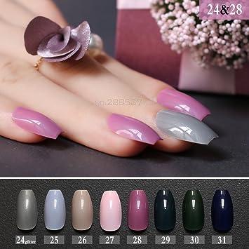 Amazon.com  Pink Gray Glitter False Coffin Nails Green Blue