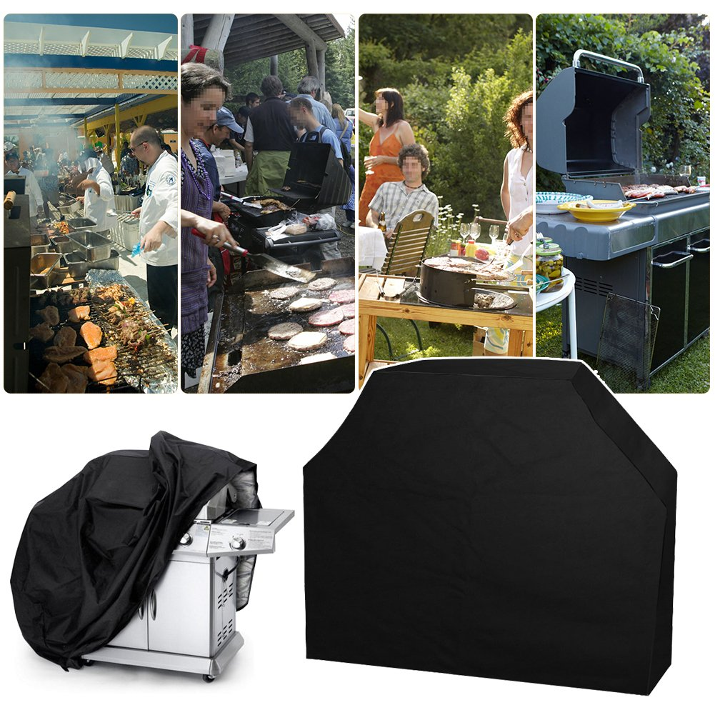 ASIV BBQ Funda para Barbacoas Cubierta de Parrilla Anti-UV Anti-polvo Impermeable Resistente al Viento (145 x 61 x 117 cm) para Hogar Terraza Patio Jardín ...