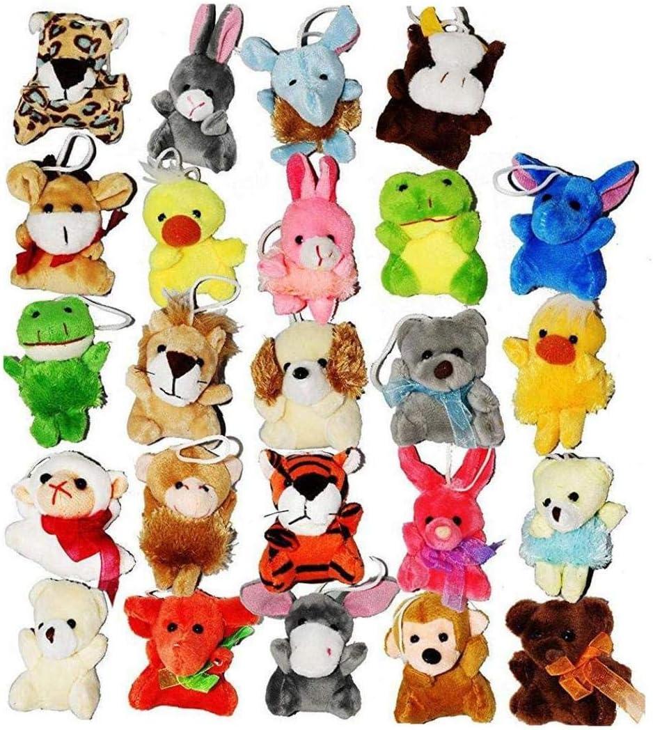 24 Paquete Mini Party Animal De Juguete Lindo Animales De Peluche Llavero De Juguete De Felpa Bolsa Agregados Para Niños
