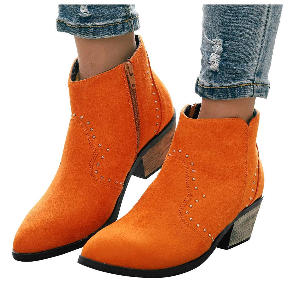 Gibobby Ankle Booties for Women with Heel Comfy Women's Bootie Side Zip High Stacked Block Heel Ankle Booties Orange by Gibobby