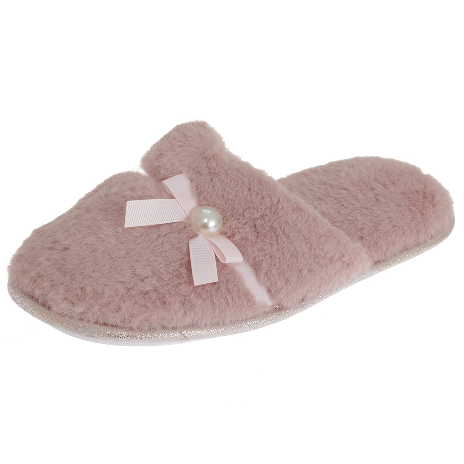 SlumberzzZ Womens//Ladies Faux Fur Bow Tie Slippers with Rubber Sole