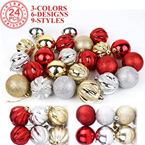 OurWarm 24 PCS Christmas Ball Ornaments for Xmas Tree, Shatterproof Christmas Tree Ornaments Christmas Decorations for Party Holiday Home Decor