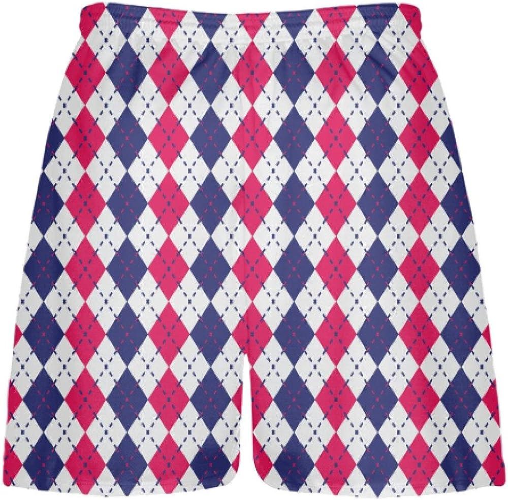LightningWear Navy Blue Red and White Argyle Lacrosse Shorts