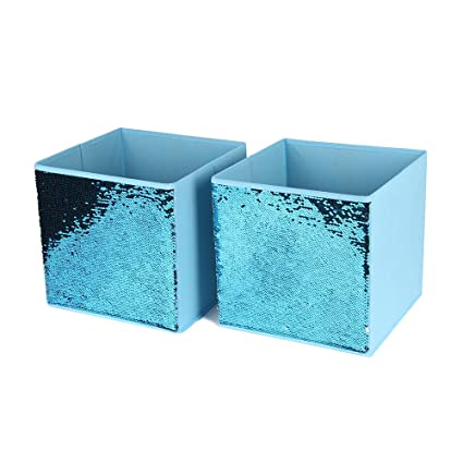 Merveilleux Amazon.com: Youth Union Storage Bin Basket,Foldable Non Woven Fabric Sequin  Storage Cube Bin   Pink/Sky Blue/Dark Blue For Home Office Closet (Set Of  2, ...