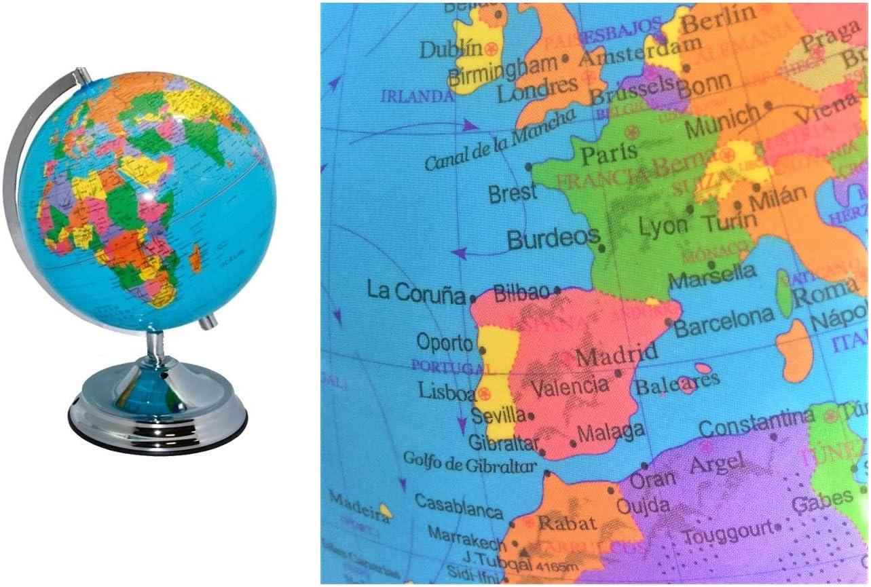 POESSA Bola del Mundo. Globo terráqueo. En Español. 25 cms. Diámetro. Medidas: ·8x26 cms..: Amazon.es: Juguetes y juegos