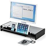サンワダイレクト 机上台 引き出し USBハブ6ポート搭載 スマホ・タブレットスタンド付 幅67cm 100-MR102