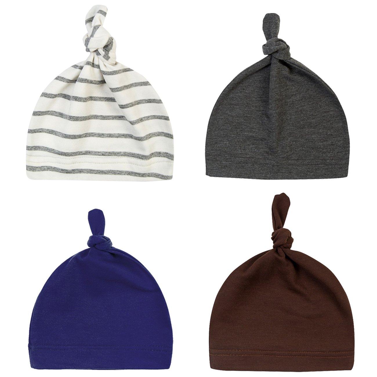 DRESHOW BQUBO Newborn Hat Knotted Hospital Hats Boys Infant Cap Baby Beanies HT0005-1