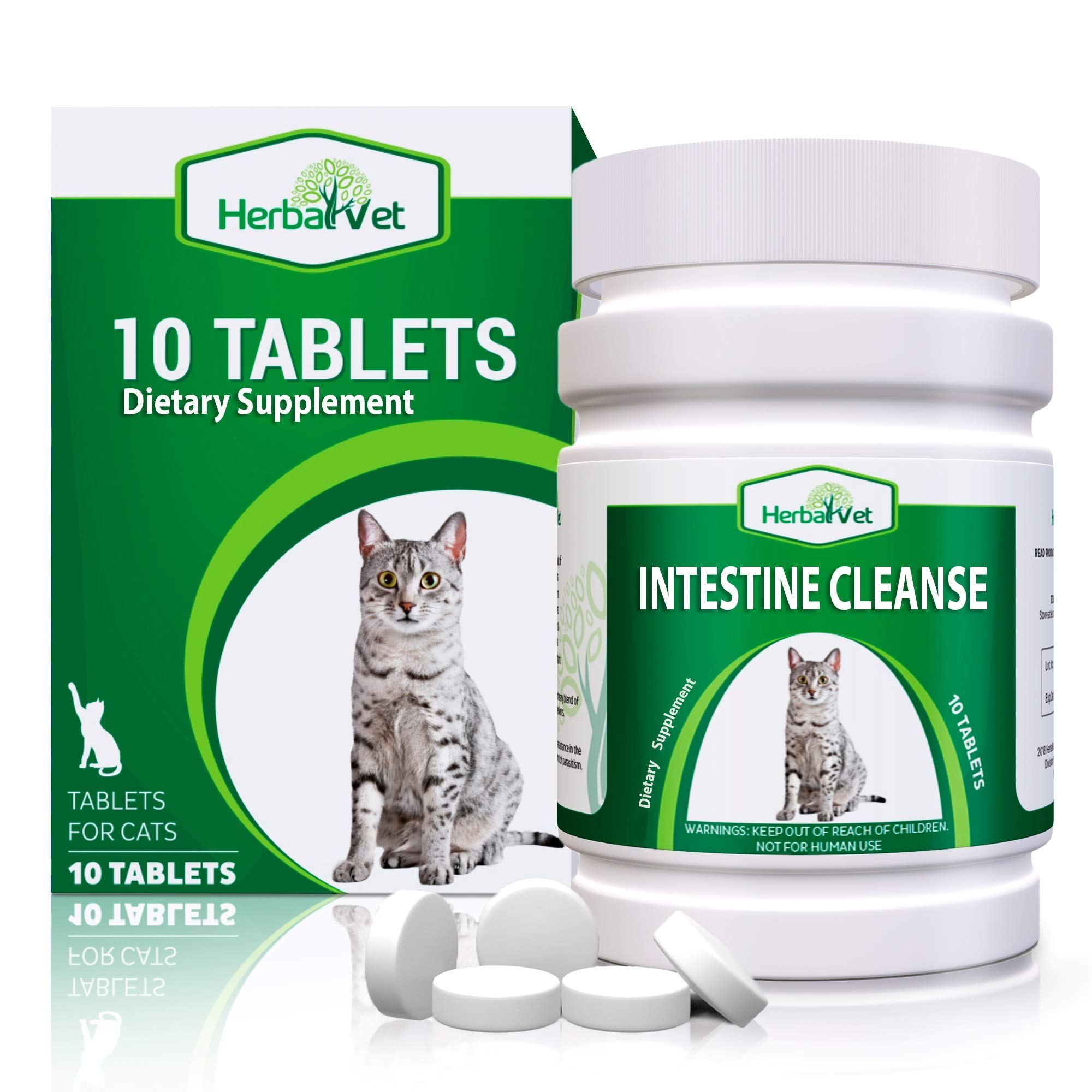 HerbalVet 10 Pack Cat Intestinal Cleanse   Cat Dewormer Alternative   Natural Cleansing Tablets for Cats, Promotes Intestinal Health   10 Tablets, Works for Kittens   Helpful E-Book Included