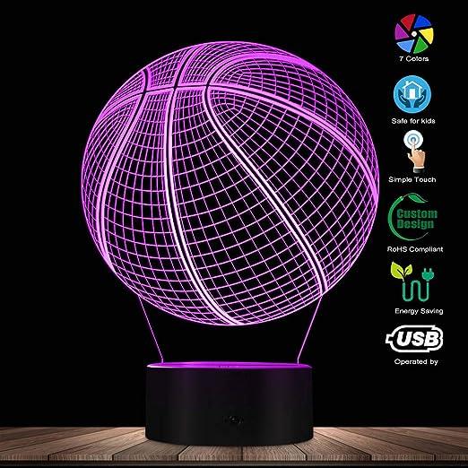 WANQINGW Baloncesto 3D ilusión óptica Iluminación Arte ...