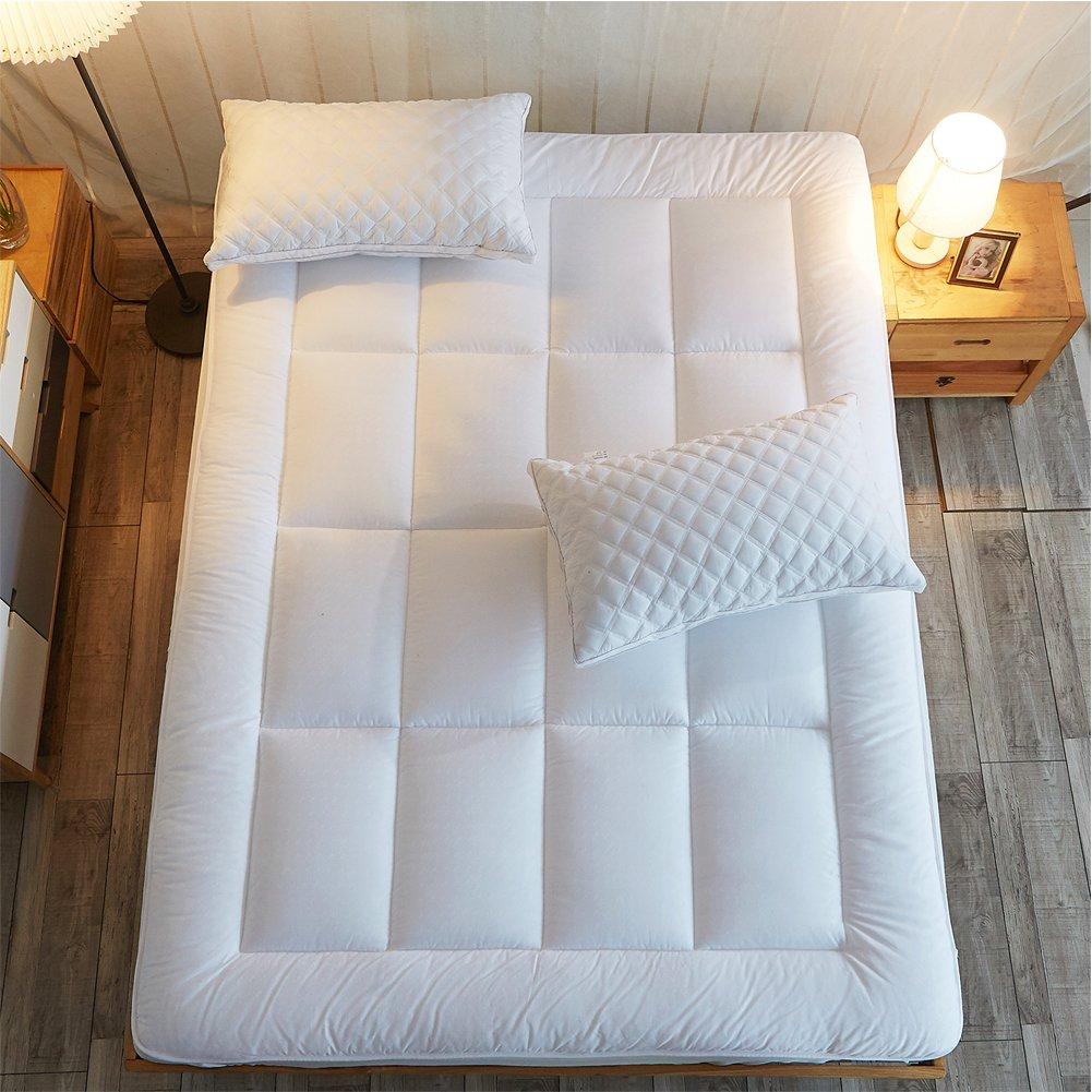 Shilucheng Overfilled Twin Mattress Pad Cover |Fit 8''-21'' Deep Pocket Mattress| Pillowto Cooling Mattress Topper Reduce Memory Foam Mattress Heat -Soft Comfortable Hypoallergenic