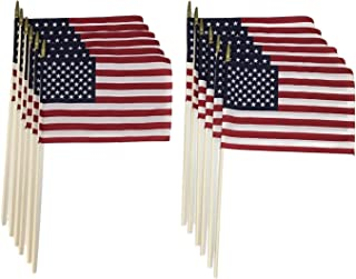 "product image for Martin's Flag 12"" x 18"" American Stick Flags, 30"" x 3/8"" Staff, Made in USA, Hemmed Edges, (12)"