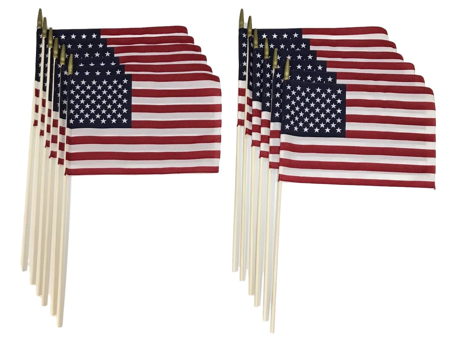 Martin's Flag 8'' x 12'' American Stick Flags, 24'' x 5/16'' Wooden Dowel, Made in USA, Hemmed Edges (144)