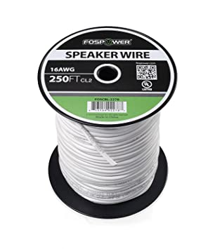 FosPower Cable de Altavoz [76m][UL Listed] 16AWG Desnudo Cobre 2-