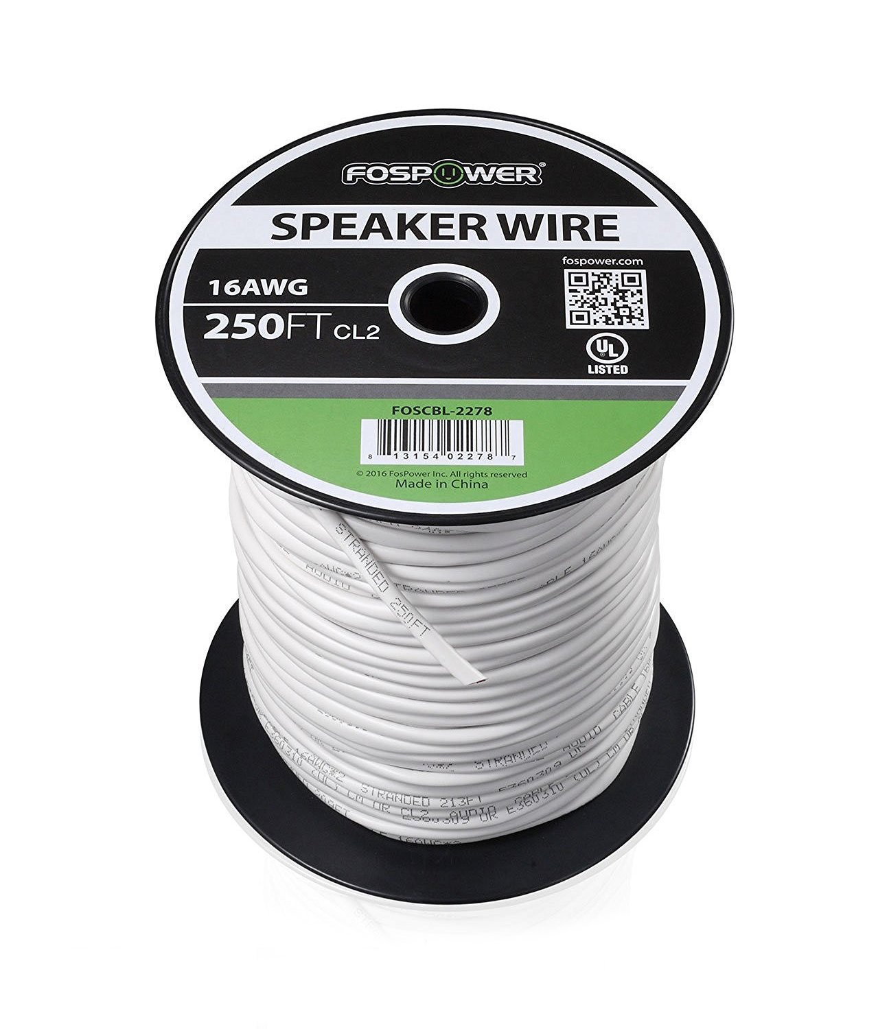 FosPower 16 Gauge Speaker Wire 250FT, CL2 Rated 16AWG 2-Conductor In-Wall Speaker Wire Cable, Oxygen-Free Pure Copper - UL Listed for In-Wall Installation