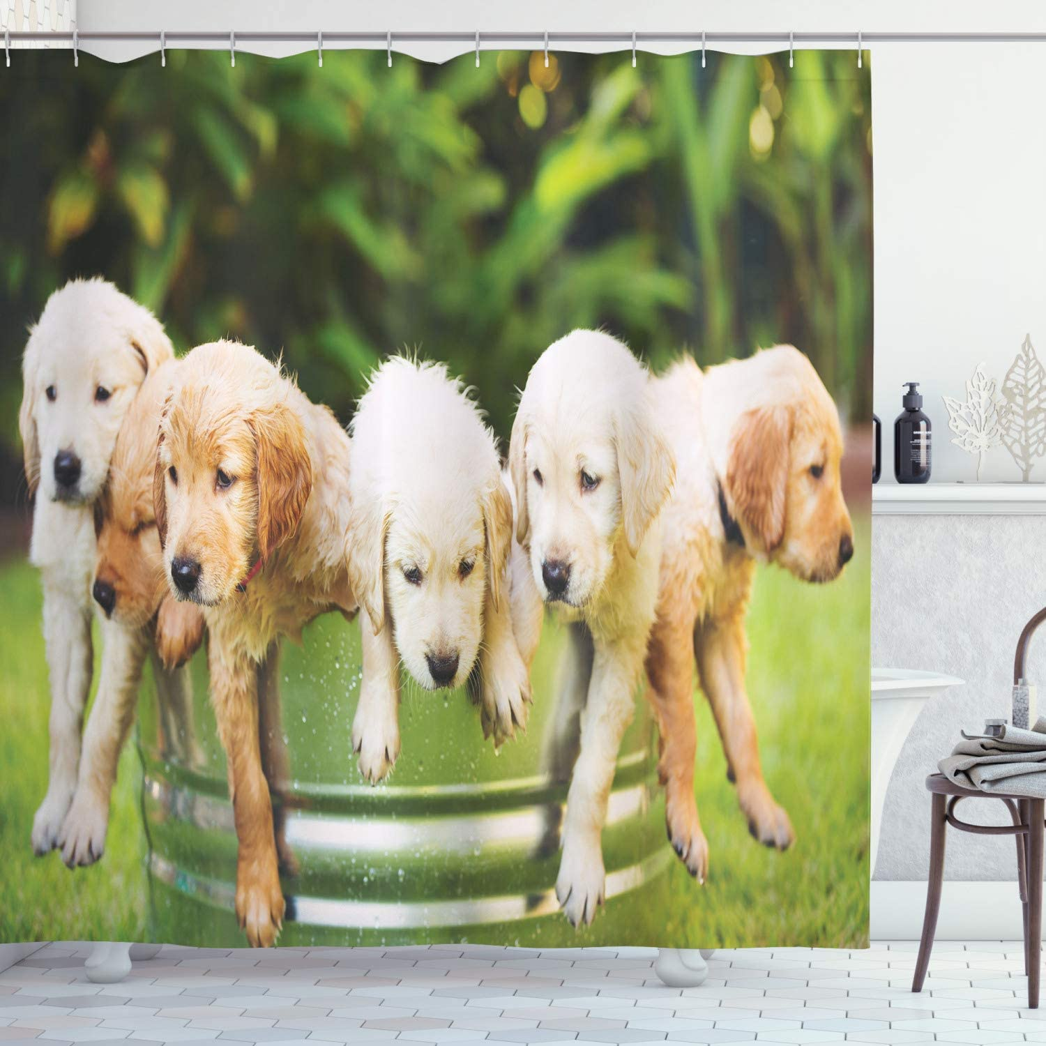 """Ambesonne Dog Lover Shower Curtain, Group of Golden Retriever Puppies in The Yard Spring Friendly Family, Cloth Fabric Bathroom Decor Set with Hooks, 84"""" Long Extra, Green Beige"""