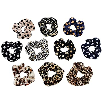 Leopard Velvet Scrunchie Elastic Damen Haarschmuck Mädchen Mode Haarband