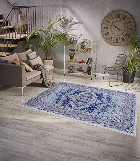 Distressed Blue Oriental 9 x 12 Area Rug Carpet Large New 1997
