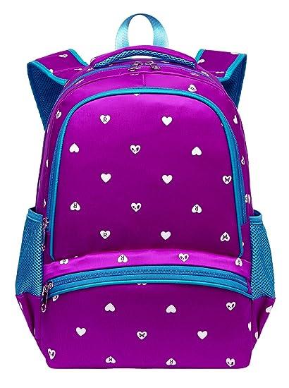 415ded9b05f9 BLUEFAIRY Girls Backpacks for Kindergarten Kids Girly School Bags Durable  Bookbags for Little Girls 15 Inch Nylon Heart Print (Small,Purple&Blue)