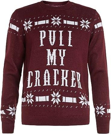 Mens Red Burgundy Pull My Cracker Christmas Jumper Red Uk Us Medium Amazon Co Uk Clothing