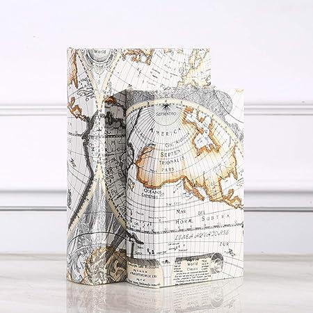 CCEKD Caja de Madera Caja de Almacenamiento de Madera Retro Mapa del Mundo Seguridad Caja de Seguridad Libro Efectivo Caja de Organizador de joyería, Multicolor, L: Amazon.es: Hogar