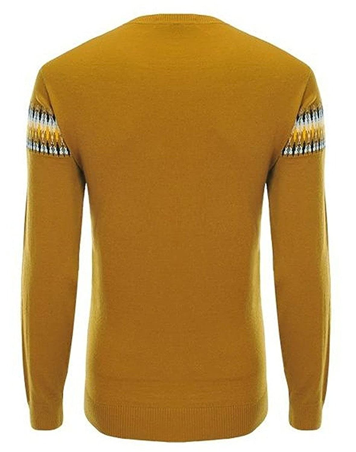 Kaured Stylist Mens Knit Print Slim Fit Scoop Neck Pullover Sweaters