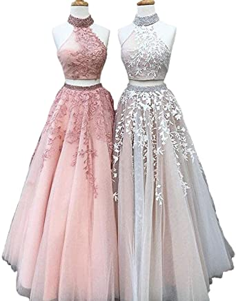 Graceprom High Neck Two Pieces Prom Dress Lace Beaded Long Evening Dress at Amazon Womens Clothing store: