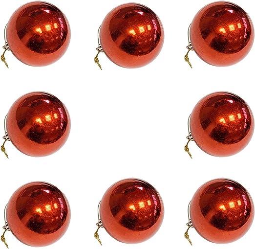 Pack de 8 Bolas de Navidad Color Rojo 8 cm: Amazon.es: Hogar
