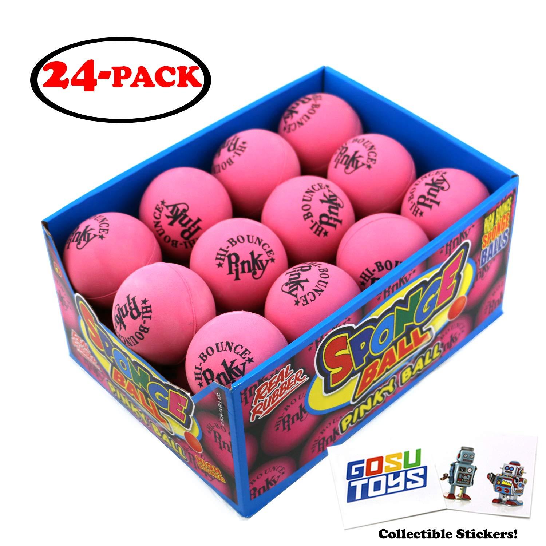 Original Hi Bounce Pinky Ball 2.5'' Large Pink Rubber Ball 24 Pack Bundle Multi Purpose Play Soft Ballet Dance Massage Ball Dog Ball with 2 GosuToys Stickers