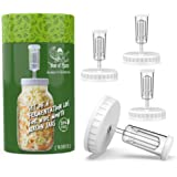 Year of Plenty BPA-Free, White Fermentation Lids | 4-Pack | for Making Sauerkraut in Wide Mouth Mason Jars | Includes Instruc