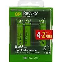 GP Batteries Recyko+ 850 AAA İnce Kalem Ni-MH Şarjlı Pil, 1.2 Volt, 6'lı Kart, Yeşil/Siyah