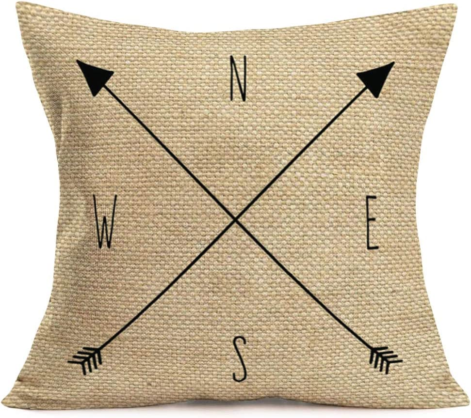Smilyard Throw Pillow Covers Arrow Compass North South West East Pillow Case Square Cotton Linen Decorative Cushion Cover Slipcover Home Decor 18x18 Inch Accent Pillowcase (Arrow-W)