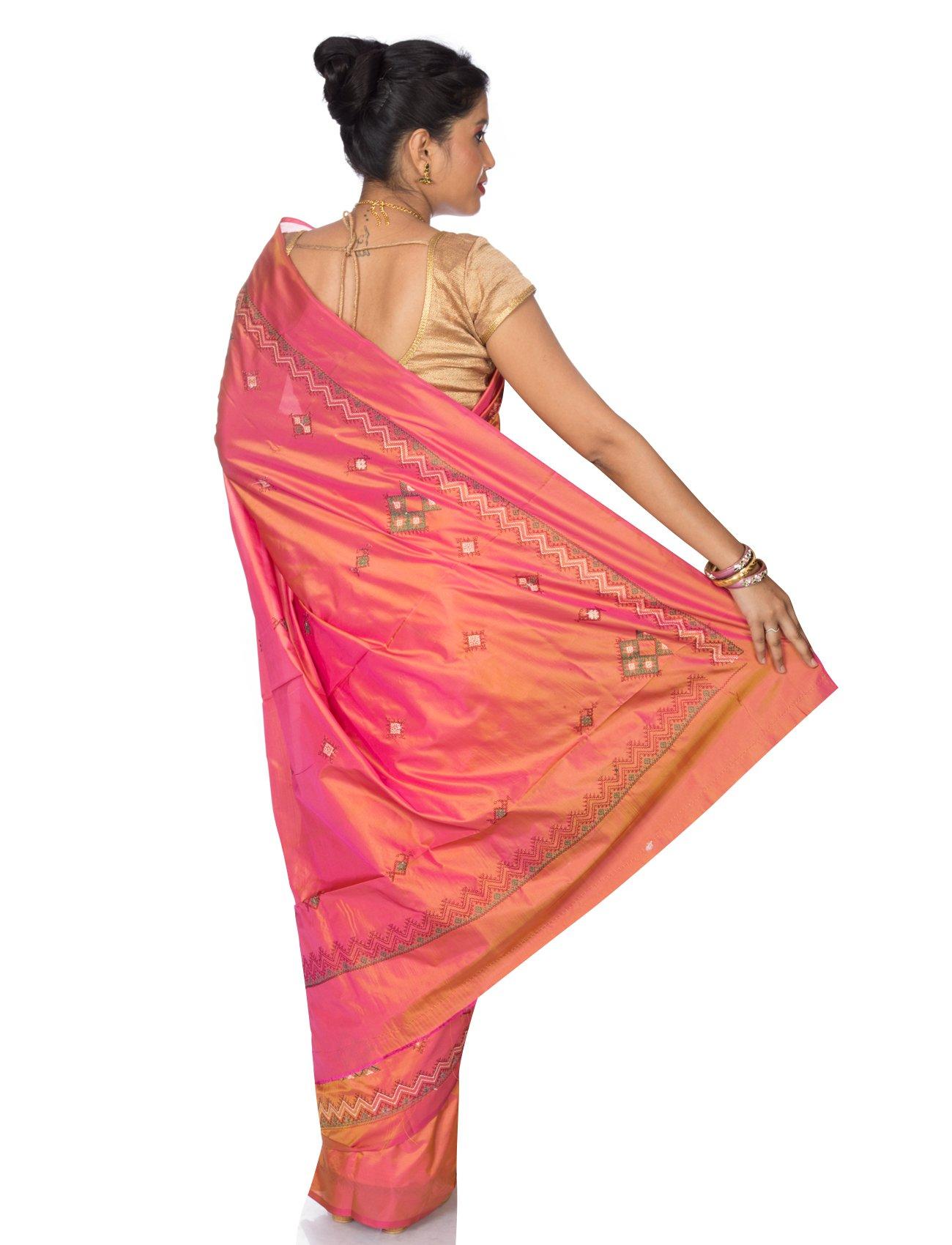 Mandakini Women's Tassar Silk Kasuti Saree (MK561_Orange Pink) by Mandakini (Image #4)