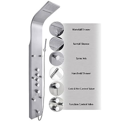 AKDY JX 9821 AZ 9821 65u0026quot; Stainless Steel Rain Waterfall, Massage Jets