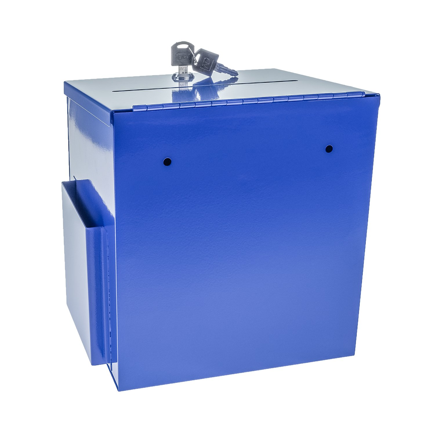 Source One LLC Large Steel Donation Box, Suggestion Box with Side Pocket (Blue)