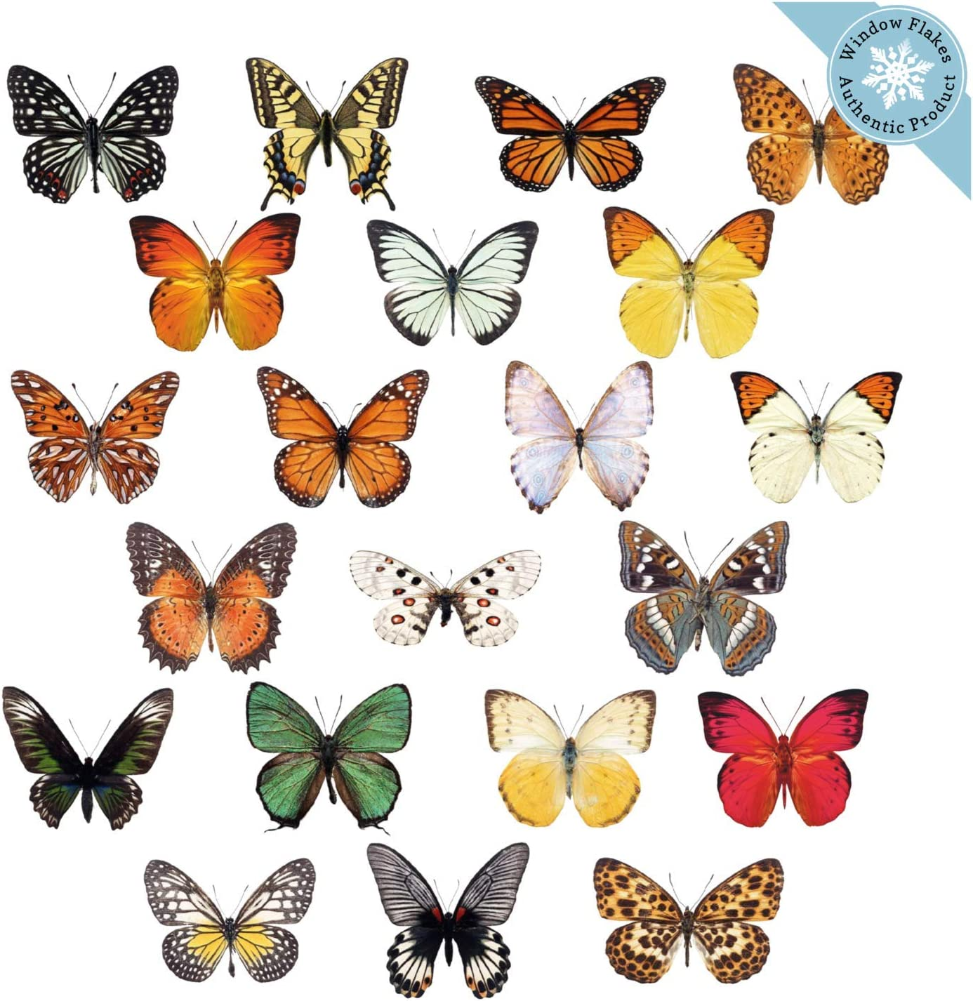 21 Butterfly Window Clings for Glass Windows and Doors | Window Decals for Birds Strikes | Anti Collision Window Stickers Decor | Decorative Butterflies Window Decals for Sliding Glass Doors