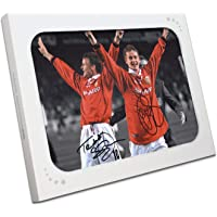 $157 » Teddy Sheringham and Ole Gunnar Solskjaer Signed Manchester United Soccer Photo In Gift Box | Autographed Sport Memorabilia