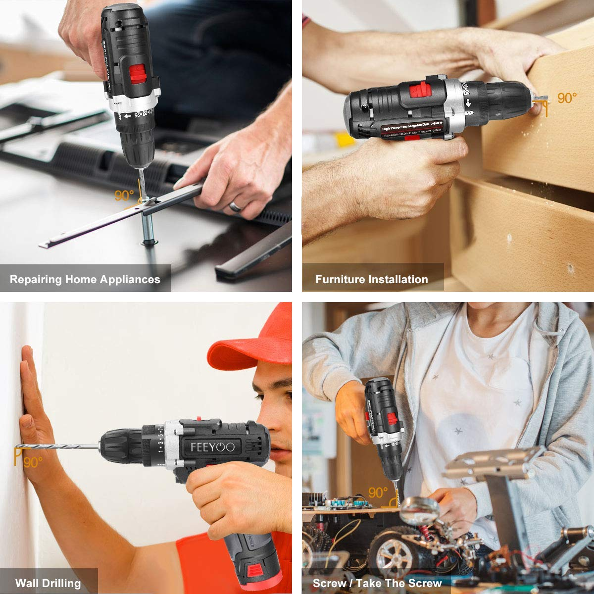 Perceuse visseuse sans fil FEEYOO 31Pcs Kit Perceuse Electrique Professionnel pour Bricolage 2 Batteries Li-ion 12.8V 3900mAh, Couple Maxi 26Nm, 2 Vitesses, Mandrin Auto-serrant 10mm