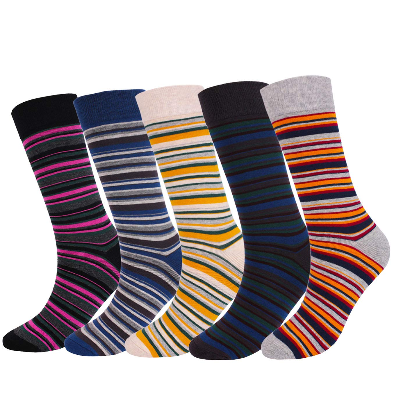 Mixsense Mens Dress Cool Colorful Funky Design Combed Cotton Casual Crew Socks Striped Socks 01) CAM-HN-001
