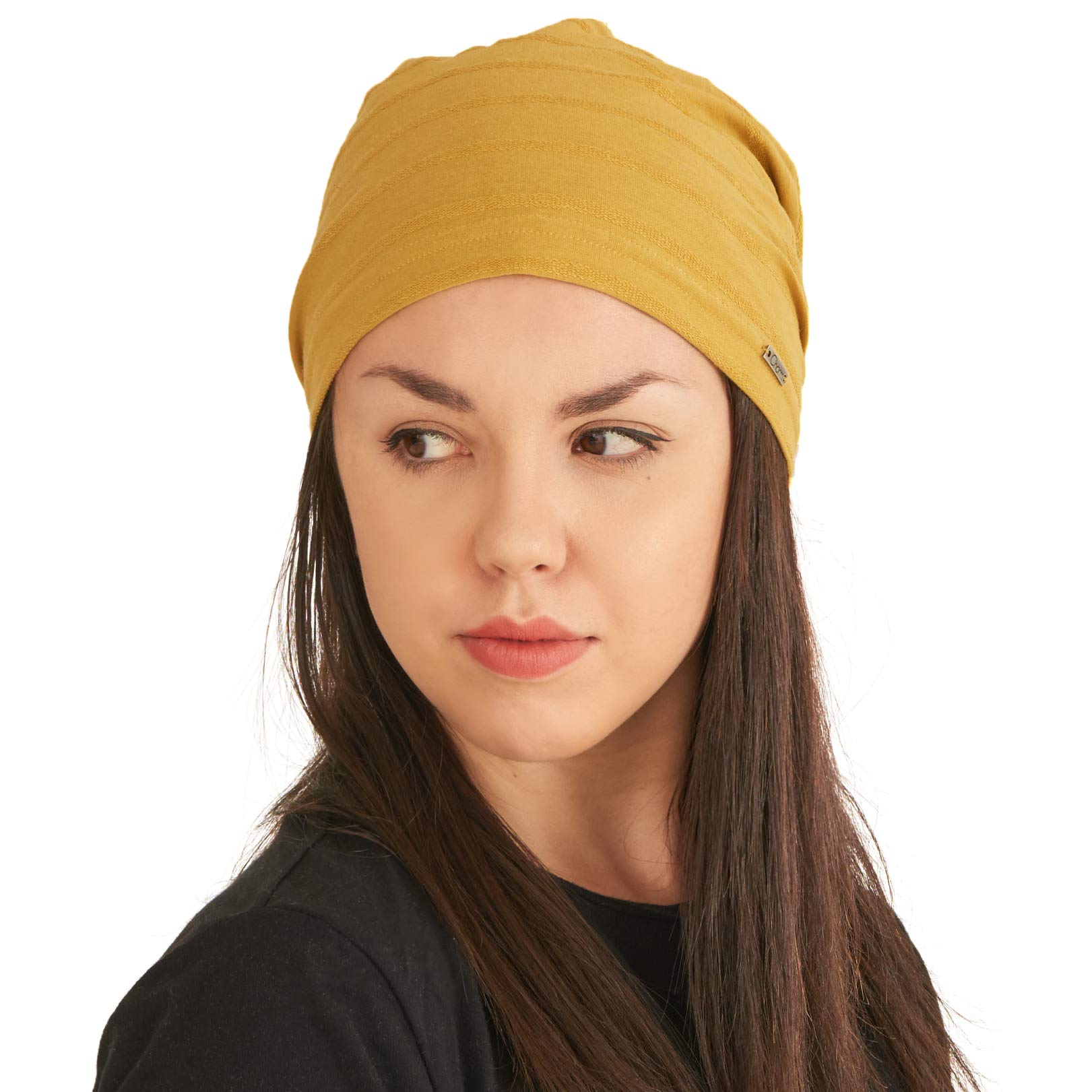 Womens Light Weight Summer Beanie - Mens Slouchy Beanie Hat Stretchy Slouch Knit Cap 100% Cotton Chemo Hat Mustard